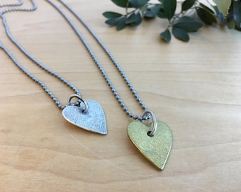 Heart Necklace in Silver or Brass by Circle Stone Designs