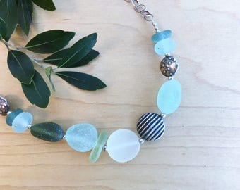 Seaglass & Silver Beaded Necklace by Barbara Fernald