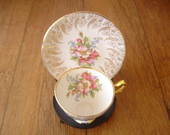 Rare Clare Bone China Made in England Patt no 1480, Cup and Saucer set, Vintage 40's - 50's, Gilt Design, 2 piece set.