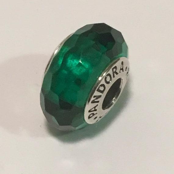 60f5df38ce6 Pandora Fascinating Green Murano Glass Charm | Etsy