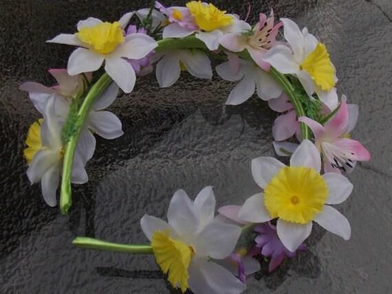 Spring Flower Garland Headband Crown Spring Wedding Crown Etsy