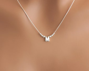acb2ca703 100% Sterling Silver Initial Necklace • Everyday Necklace • Sparkly Dainty  Necklace • Letter Necklace • AlinMay