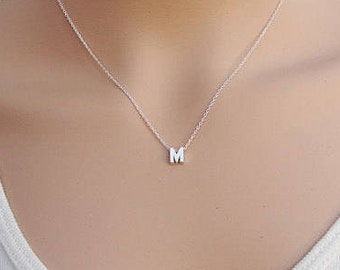 Silver initial necklace etsy 100 sterling silver initial necklace silver initial uppercase letter dainty necklace letter necklace silver necklace initial aloadofball Images