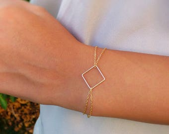 Minimalist Gold Bracelet, Delicate Bracelet, Square Bracelet, Gold filled, Geometric Jewelry, Gift for her
