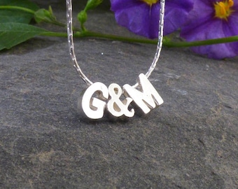 Initials Charm Necklace, Custom Initials Necklace, Valentines Necklace, Letter Necklace, Gift for Women