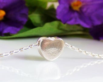 Sterling Silver Heart Pendant Necklace, Heart Pendant Necklace, Tiny Heart Pendant Necklace, Silver Heart Pendant Necklace, Heart Pendant