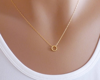 Dainty Necklace, Karma Circle Necklace, Gold filled, Gift Ideas For Her, Minimalist Jewelry, Layering Necklace, Gold Necklace