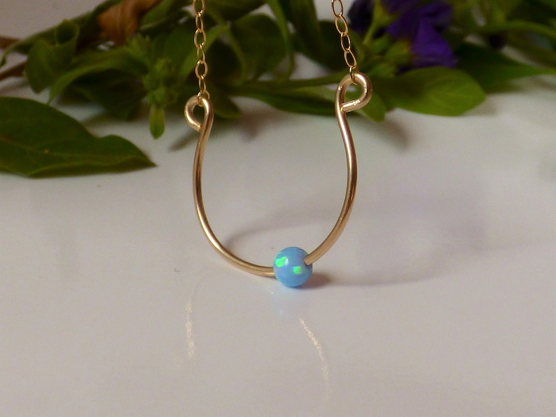 Dainty Wire Jewelry AlinMay 14K Gold filled Dainty Necklace Horseshoe Necklace Horseshoe Pendant with Opal Bead Small horseshoe