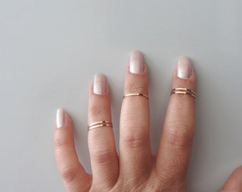 Knuckle Rings, Set of 5 Midi Rings, Rose Gold Plated, Band Rings ,Gold Band Ring, Gift for her, Stacking Rings