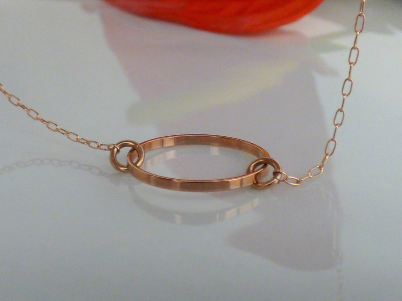 Minimalist Necklace Rose Gold Jewelry Rose Gold Necklace Dainty Rose Gold Circle Necklace Simple Necklace