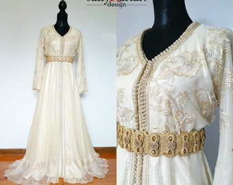 592d001f35 Opulent light gold Bridal Moroccan Kaftan/caftan/Tackchita two pieces