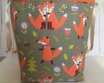 Available in three sizes Sale Double Sack Divided Project Bag with pocket in Cowboy Doxie