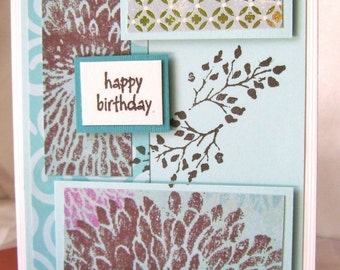 Handmade Birthday Card Wishes Happy Special Day Congratulations Brown Gold And Turquoise Stamped Embossed