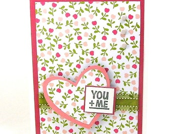 Love card, Romantic card, Romantic occasion, You and me, You + me, Feminine floral, Hearts, Flowers, Valentines Day, Wedding, Anniversary