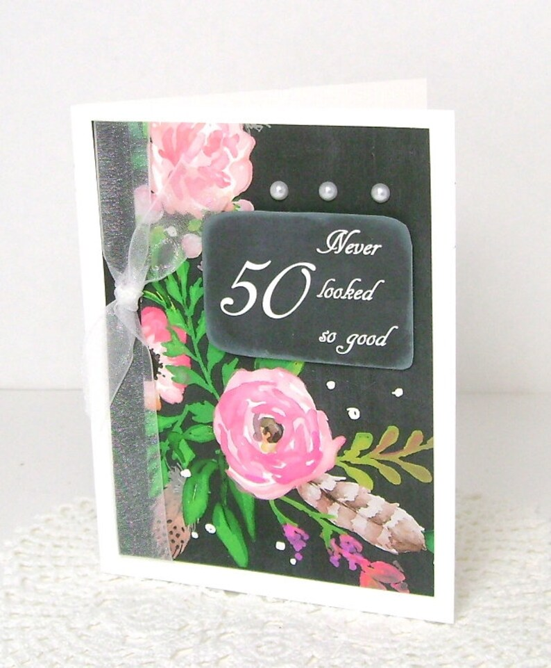 Birthday Card Chalkboard Floral 50 Years Old 50th