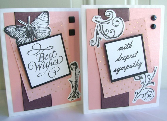Hand cut /& stamped Sympathy card With deepest sympathy Black pearl accents Black accents Peach and gold
