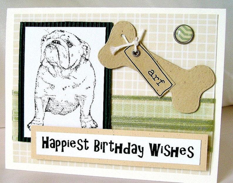 Bulldog Greeting Card Birthday Wishes Bull Dog Happy