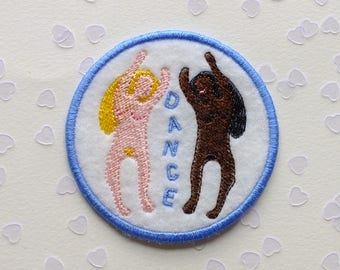 Dance Embroidered Patch - Iron On Badge, Sew On Patches, Dancing Women, Gift for Her, Nude Ladies