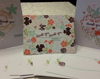 Set of 9 Thank You Cards with envelopes