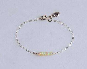 October, Opal Bracelet, Ethiopian Opal, Gemstone, Birthday, Bridesmaid, Gift, Personalized Jewelry, Sterling Silver Bracelet, LIJ 17001