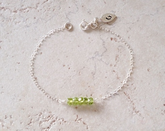August, Peridot, One Initial, Leaf, Birthday, August  Gemstone, Birthstone, Personalized Jewelry, Sterling Silver Bracelet, LIJ 13066
