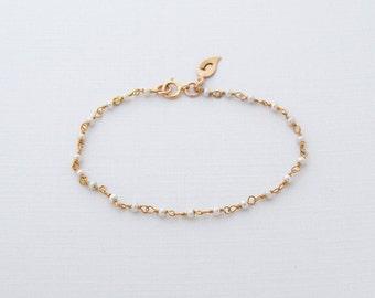 Sale, Tiny Pearl Bracelet, Initial, Bridesmaid, Wedding, Gift, June Gemstone, Birthday, Dainty, Delicate, Pearl, Bracelet, LIJ 15017