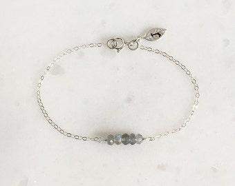 Labradorite Bracelet, One Initial, Gemstone Bracelet, Gift, Personalized Jewelry, Sterling Silver, Bracelet, LIJ 16001