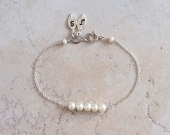 Pearl Bracelet, Two, Three, Initial Bracelet, Infinity Bracelet, June, Gemstone, Birthday, Mother, Wedding, Bridesmaid, Gift, LIJ 13064-4