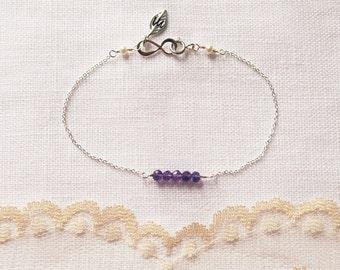 Amethyst Bracelet, February, Birthstone, Initial Bracelet, Infinity, Bracelet, One to Three initial, Gemstone, Mother, Gift, LIJ 13067-3
