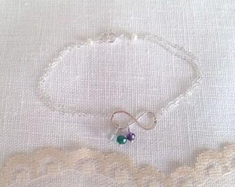 Three Birthstone Bracelet, Infinity Bracelet, Birthday, Mother, Gift, Gemstone, Personalized Jewelry, Sterling Silver, LIJ13049