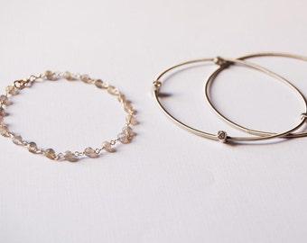 Labradorite Bracelet, Gemstone, Unique, Vintage Look, Chic, Bracelet, Bracelet Set, Piano Wire Bracelet, LIJ 15025