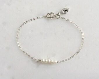 Pearl Bracelet, one Initial, June Gemstone, Birthday, Bridesmaid, Wedding, Gift, Personalized Jewelry, Sterling Silver Bracelet, LIJ 13064-5