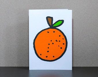 Orange card, birthday card, greetings card