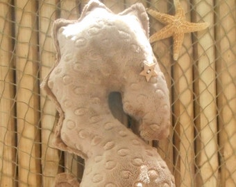 Seahorse pillow, nautical baby, nautical nursery, nautical pillows, seahorse plushie, beach decor, nautical home, minky dot seahorse
