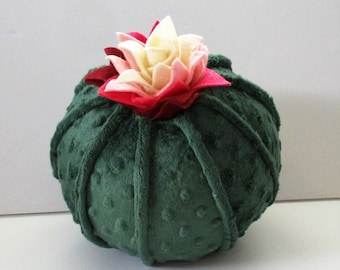 Round cactus pillow, succulent pillow, plush cactus, throw pillows, flowering cactus pillow, southwest nursery, southwest decor