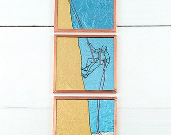"""Miniature artwork: """"How to Rappel"""", glass wall decor, vintage sports illustration, how-to instructions, abseiling"""