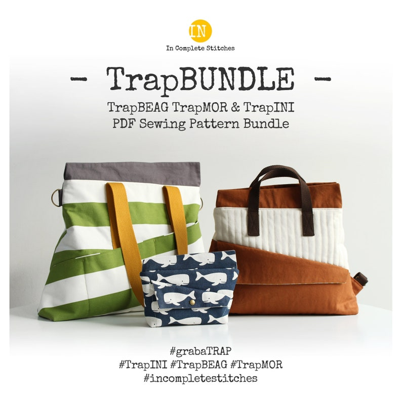 TrapBUNDLE  TrapINI and TrapBEAG TrapMOR Digital PDF Sewing image 1