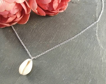 Cowrie Shell Necklace | Sterling Silver | Minimalist | Simple Jewellery | Beach Nautical Style | Gift For Her | Bridesmaid | Shell Jewellery