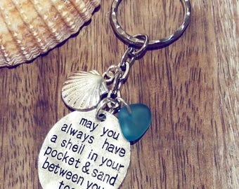 May You Always Have A Shell In Your Pocket & Sand Between Your Toes | Sea Glass Jewellery | Beach Lovers Gift | Gift for Her | Beach Keyring