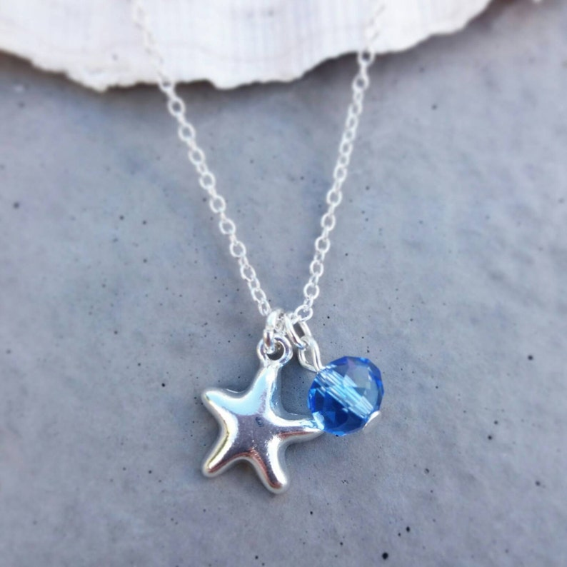 3d7b04f1d5bb5 Silver Starfish Necklace | Beach Lover Gift | Starfish Jewellery |  Something Blue | Swarovski Crystal Necklace | Heart of the Ocean | Beach