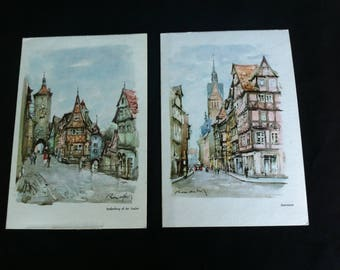 Two Art Lithographs Of Towns In Germany Christmas Cards :  One Hannover And One Rothenburg Ob Der Tauber Orig-Design Rocca-Delpech W Germany