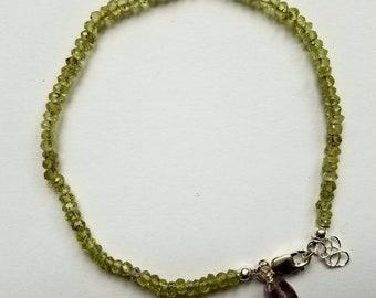 Faceted Peridot Bracelet on Silk