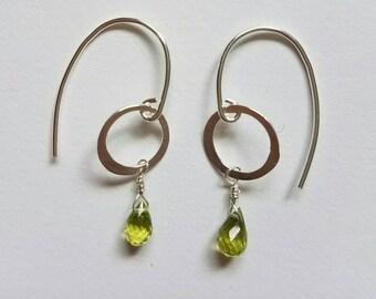 Baby Peridot Silver Drop  Earrings