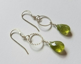 Peridot Silver Earrings with Bali Silver