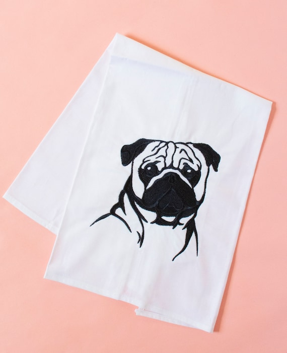 Dog Towel Pug 6 Embroidered Personalised Towels /& Tea Towels