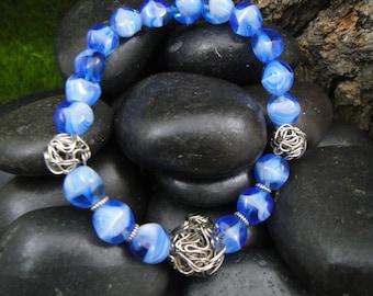 Blue & White Lampwork Beaded Bracelet