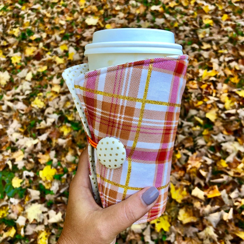 Coffee Cozy-fits all size hot/iced drinks Pattern: Pumpkin image 0