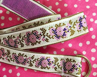 Child's self-closing D-ring  Ribbon Belt: Vintage Needlepoint Ribbon, size 7/8