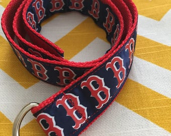 Child's Self-closing D-ring Ribbon Belt: Boston Red Sox, size 5/6