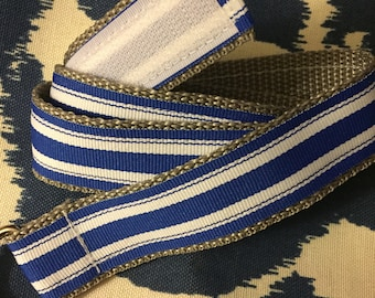 Child's Self-closing Belt: Blue and White Preppy, size 7/8